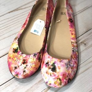 Time and True Floral Pink Flower Flats NWT